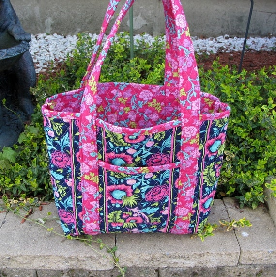 Navy Blue And Pink Floral Quilted Tote Bag Beach Bag Teacher