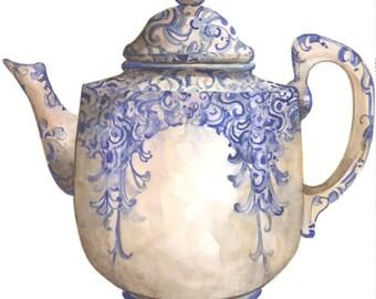 Arabesque Teapot 10 x 10 lithograph