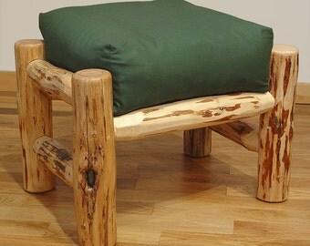 Rustic log furniture Mountain Hewn Ottoman