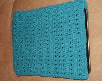Crochet iPad / tablet case/sleeve - blue/turquoise