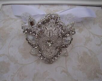 Bridal Bracelet - Rhinestone Bridal Bracelet - Rhinestone Bridal Cuff - Bouquet Wrap