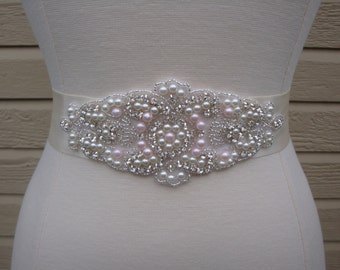 Bridal Sash - Wedding Dress Sash Belt - Pink Pearl and Rhinestone Ivory Sash - Pink and Ivory Rhinestone Bridal Sash
