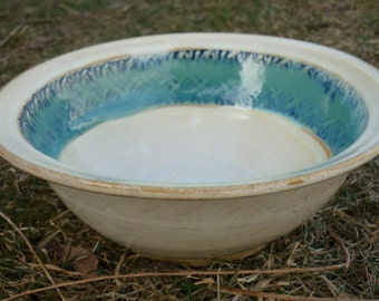 Pottery Pasta Bowl, Salad Bowl, Set or Individual, Rimmed, Textured, Cream, Blue  and Green