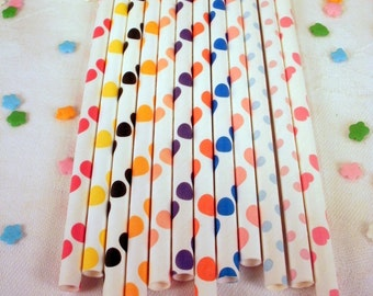 75 Polka Dot Paper Straws - Your Choice of Colors