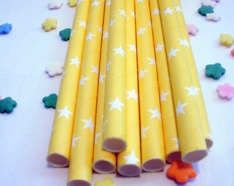 25 Yellow Paper Straws with Stars