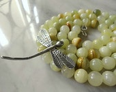 RESERVED For JUNE - Vintage Light Green Agate Necklace - Long Banded Agate Necklace