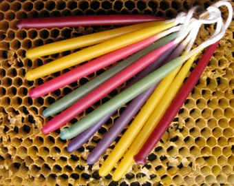12 Rainbow Birthday Candles, Beeswax Birthday Candles, Hand Dipped Birthday Candles, Coloured Tapers, Coloured Beeswax Candles