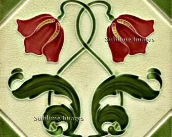AN021 - Gloss Ceramic or Glass Tile - Art Nouveau Reproduction Tile - Various Sizes