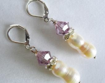Freshwater Pearl Earrings / Pearl Wedding Earrings