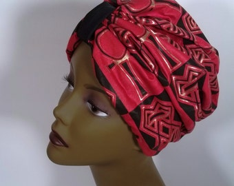 African cotton, fashion turban, hat, red, black, full turban, designer, vintage style, head scarf, head wrap, size M. Free shipping in USA.