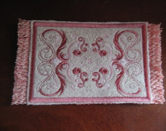 Delicate Victorian Mini Rug in Romantic Pinks for your miniature dollhouse 1/12 scale