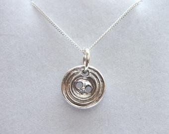 Solid Fine Silver Vintage Button Pendant