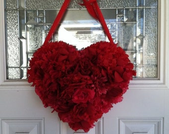 Red Heart Wreath, Valentines Day heart shaped wreath/valentines day decoration For front door or entry way or any wall, Medium