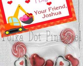Bull Dozer Digger Valentines Goodie Bag Printable