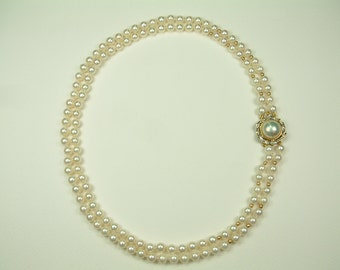 Akoya Pearl Necklace 6 - 6.5 mm with Mabe Pearl and Brilliant Clasp