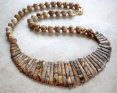 Beautiful Landscape Jasper Necklace with Graduated Long and Round Beads