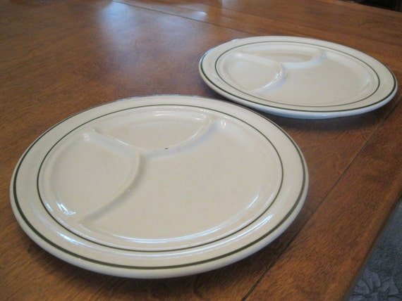 Vintage Lawrence Vitrified China Grill Plates Lot of 2, white w/ green trim, Restaurant ware, heavy everyday dishes, divided/sectioned plate