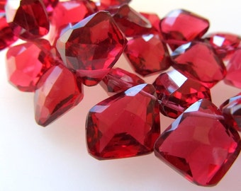Poppy Red Crystal Quartz Faceted Freeform Trapezoid Briolettes 15 X 12mm - 4 inch Strand