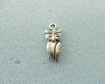 8 owl charms - hollow backed - tibetan silver - 20mm x 10mm - tibet silver charm - owl
