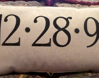 ANNIVERSARY Stenciled Burlap Pillow