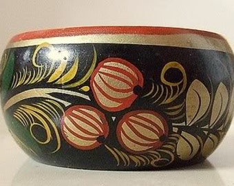 Vintage Hand Painted Russian KHOKHLOMA Home Bowl