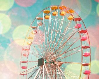 Ferris Wheel Photography, Sunny Summer Fair Photo, Rainbow Brite Carnival, Cheery Neon Pastels, Bokeh, KaleidoscopePhoto 8x8, Summer Decor