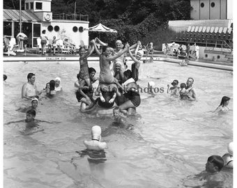 """vintage black and white photograph / fine art photography / vintage images / retro / summer sports / """"pyramid at the pool 1953"""" - SS-041"""