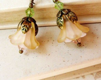 50% OFF Earrings, Pink and Cream lucite flower dangle earrings No. 176
