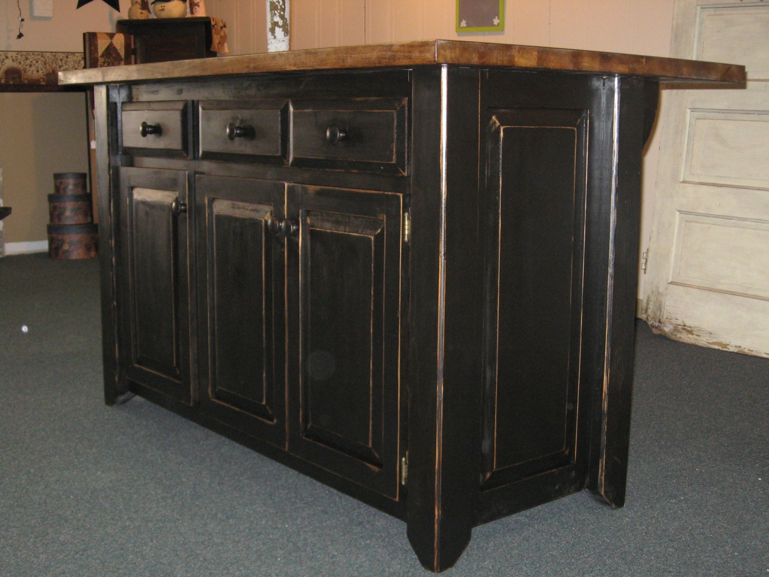 Custom Made Kitchen Cabinet Kitchen Island Primitive