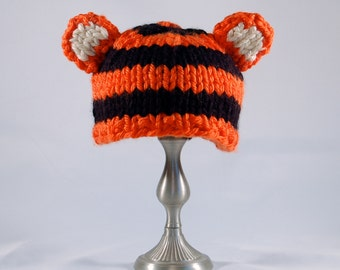 Chunky Knit Tiger Hat, photo prop, baby hat, Gender Neutral baby gift, Baby Shower Gift