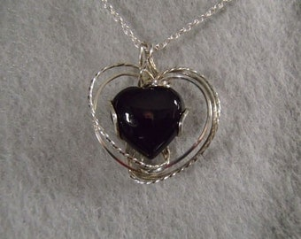 Necklace, Black Onyx Heart and Sterling Silver Wirewrap