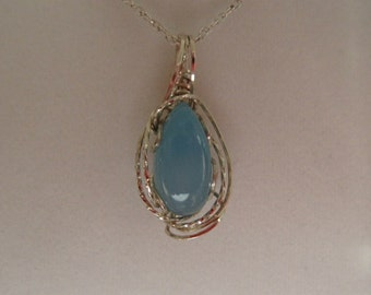 Necklace, Blue Botswana Agate and Sterling Silver Wirewrap
