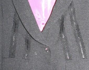 90s suit Red or Dead designer - Black lace trim size (10UK)