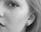 Mint Ceramic Round Earrings Stud Geometric Post Handmade Jewelry