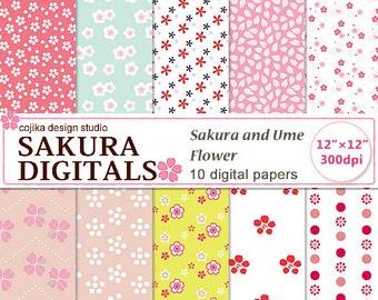 Digital papers, Japanese patterns, Sakura and Ume flowers -N002- Instant Download