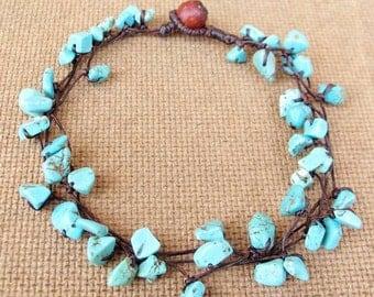 Boho Nugget Turquoise Stone Ankle Bracelet