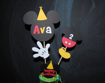 Mickey Mouse Centerpieces Toppers  With Childs Age And Name