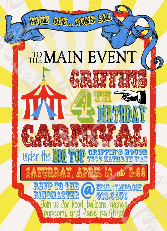custom circus or carnival birthday invitation vintage