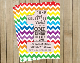 Rainbow Chevron One Rainbow First Birthday Invitation, Custom Digital File, Printable