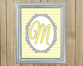 Any Colors, Yellow Chevron with Gray, Initial, Nursery Wall Decor, Bedroom, Playroom, Gift, Printable, Custom Digital File