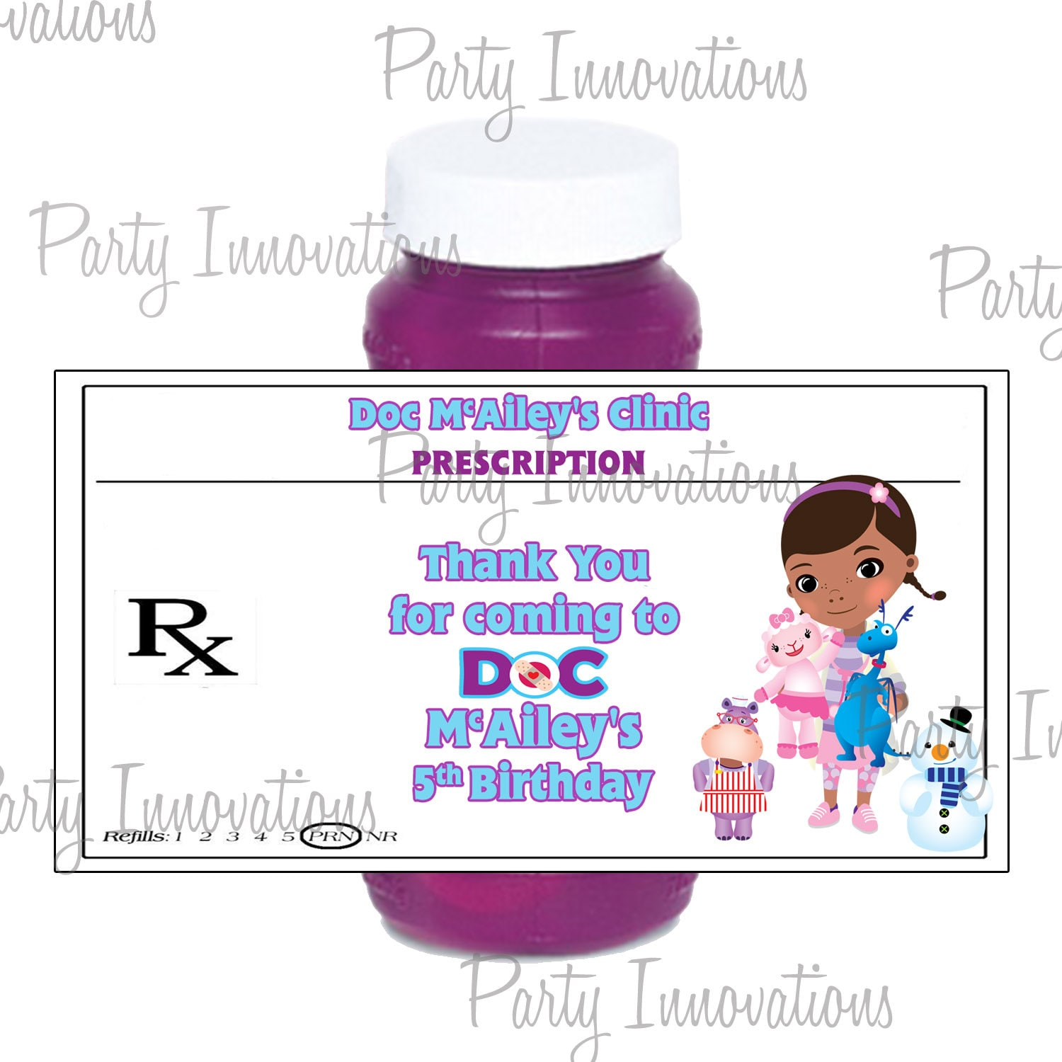 Printable Doc Mcstuffins Bubble Bottle Labels