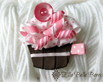 Cupcake Ribbon Sculpture Hair Clip, Time to Celebrate!