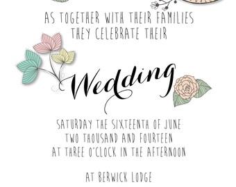 Floral pastel wedding invitation stationery set
