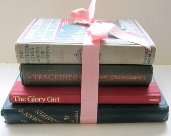 Pink and Green Instant Library. Curated selection of vintage books. Good reading, great props or decor.