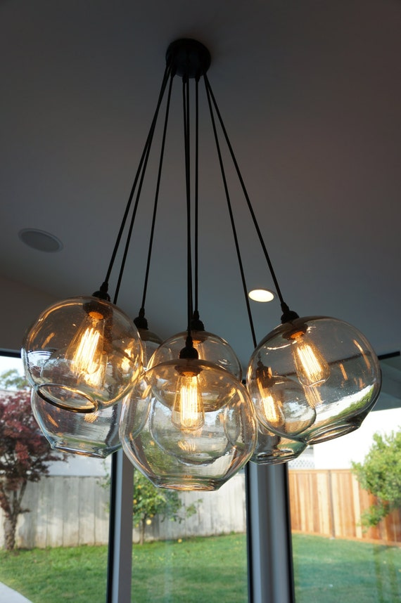 Items similar to Modern Glass Globe Chandelier w/ Edison Lights on Etsy