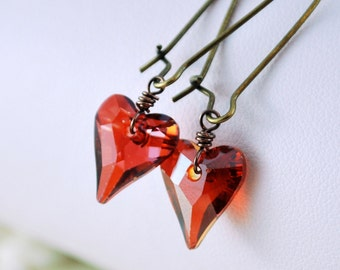 Valentines Day Earrings, Crystal Swarovski Heart, Deep Red Magma, Drop, Antiqued Brass Kidney Earwires, Romantic Jewelry