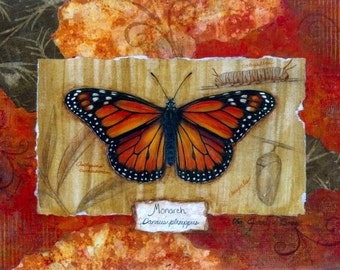 Monarch Butterfly Painting acrylic and mixed media collage on canvas 10x14