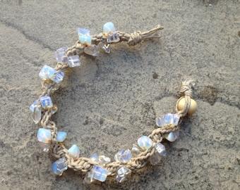 Moonstone/Opalite/Sea Opal hemp bracelet