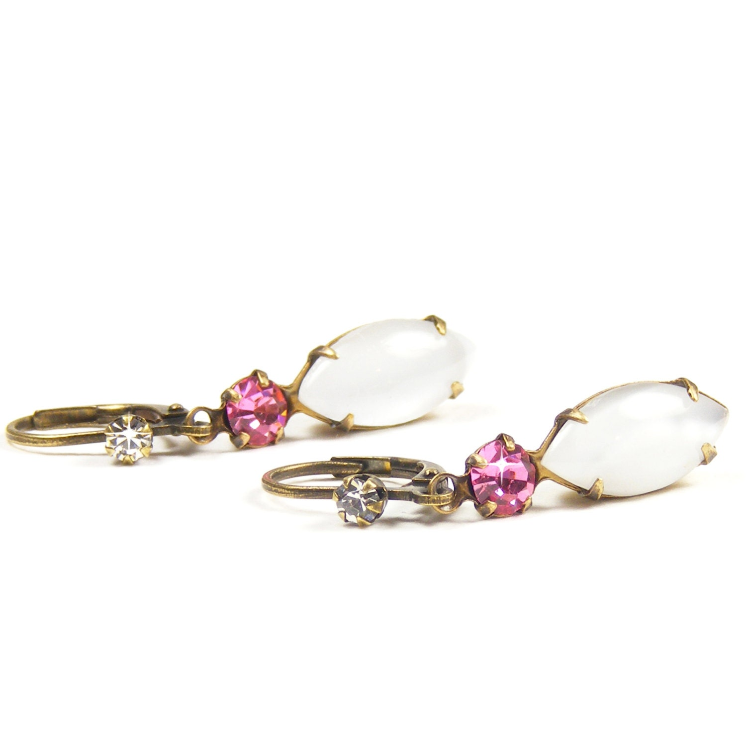 Vintage Rhinestone Earrings, Downton Abbey Inspired Drop Earrings, Milky White Opal & Rose Pink