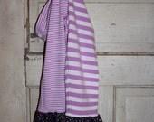 OOAK - Striped Ruffle Leggings - Girls' Size M (7-8) - 100% Designer Cotton fabric